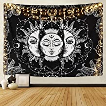 Sun and Moon Tapestry Burning Sun with Star Tapestry Psychedelic Tapestry Black and White..