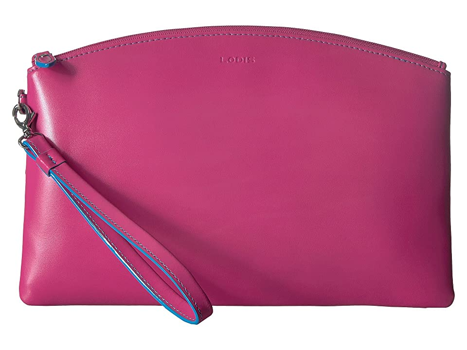 Lodis Accessories Audrey RFID Miley Wristlet with Removable ID Wallet (Hot Pink/Blue) Wallet Handbags