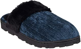 Chaps womens Comfy Faux Fur Womens House Slipper Scuff Memory Foam Slip On Anti-Skid Sole