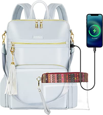 Backpack Purse for Women, 15.6 Stylish Travel Laptop Backpack with USB Charging Port Waterproof Anti Theft