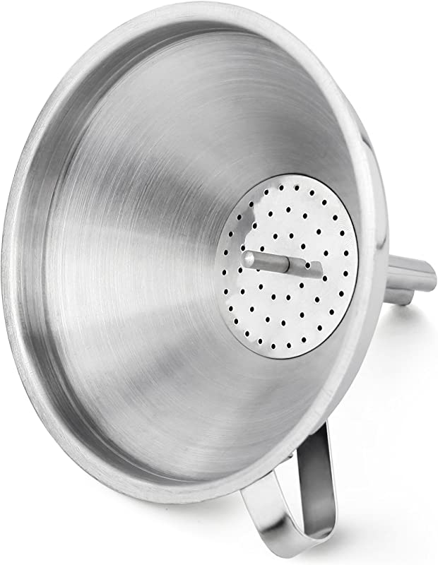 New Star Foodservice 42641 Stainless Steel Funnel With Detachable Strainer Filter 5 Silver