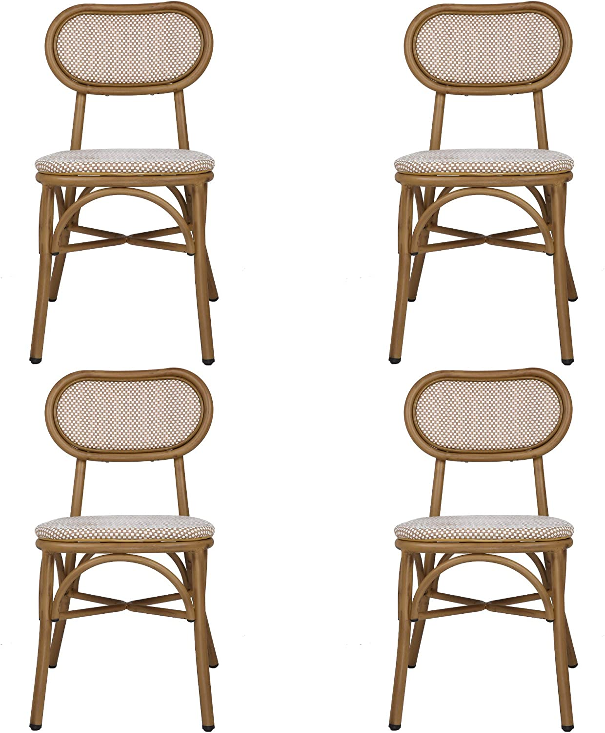 Rattan Dining Chairs Set Max 46% OFF of 4 with Ba Indoor New arrival Use Outdoor Armless