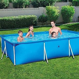 Zenghh Marco prisma piscina Set Family Pool, desmontable rectangular piscina con el desgaste de la bomba Filtro Pista Y piscina cubierta, la escuadra de soporte jardín al aire libre de gran tamaño gra