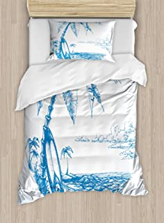 Ambesonne Surf Duvet Cover Set, Contemporary Sketch Illustration Hawaiian Beach with Surfboard Palms and Ocean Water, Decorative 2 Piece Bedding Set with 1 Pillow Sham, Twin Size, Blue and White
