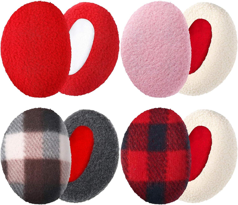 4 Pairs Bandless Ear Muffs Fleece Ear Muffs Thick Winter Ear Covers Cold Weather Ear Warmer for Women
