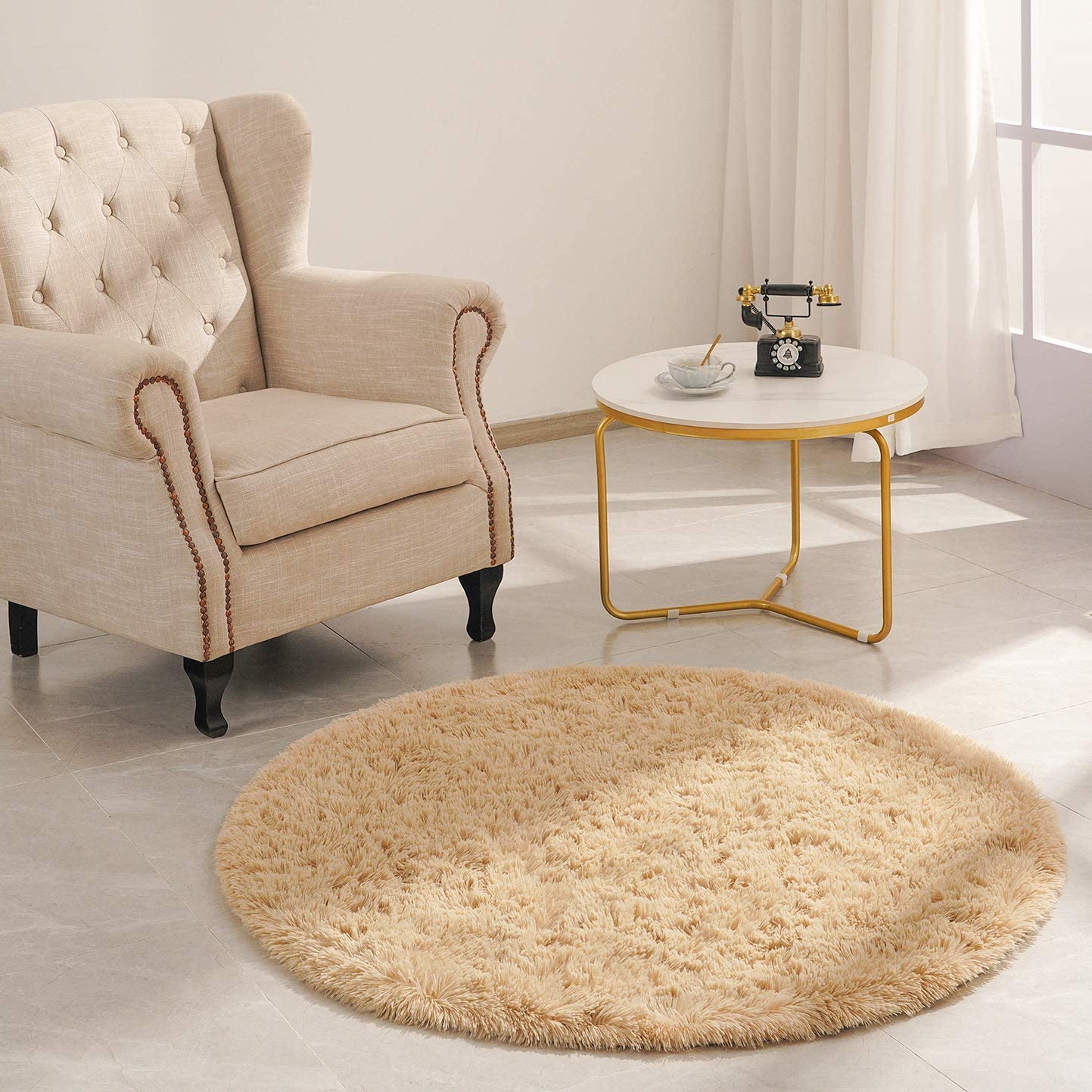 Goideal Round Cheap Fluffy Area National uniform free shipping Rug for Bedroom Light Shaggy Tan