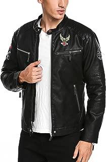 COOFANDY Men's Vintage Slim Faux Leather Moto Biker Jacket