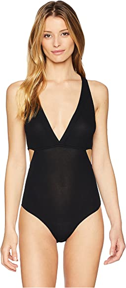 Feather Weight Rib V-Neck Cut Out Bodysuit