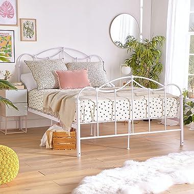 BTFY Cadre de lit double en métal Blanc