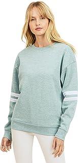 esstive Women's Ultra Soft Fleece Lightweight Casual Stripe on Sleeves Varsity Solid Sweatshirt, Marled Smoky Blue, X-Small