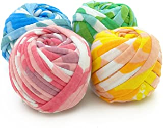 Charmkey Pappardelle Multicolored T Shirt Yarn Soft 95% Polyester and 5% Spandex Fabric 7 Jumbo Fashion Knitting Cloth Tape for Crocheting Bags Bowls DIY Handicraft, Pack of 4 Skeins, 1.41 Ounce×4