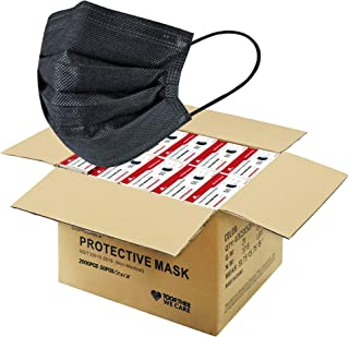 2000 PCS Black Disposable Face Masks (40 Packs, 50pcs/pack), Wholesale Bulk Disposable Mask, Non Woven Thick 3-Layers Masks Cup Dust Masks for Business School PPE