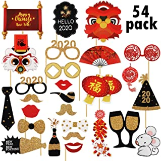 54 Pieces 2020 Chinese New Year Photo Booth Props Year of the Rat Selfie Props for Spring Festival New Year Party Supplies