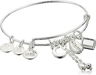 Alex and Ani Women's Puka Shell Cluster Charm Bangle Bracelet, Shiny Silver