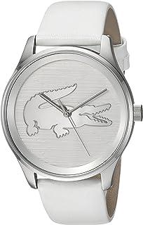 Lacoste Women 's' Victoria 'acero inoxidable y piel Casual reloj de cuarzo, color: blanco (modelo: 2001001)