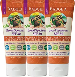 Badger - SPF 30 Kids Sunscreen Cream with Zinc Oxide for Face and Body, Broad Spectrum & Water Resistant Reef Safe Sunscreen, Natural Mineral Sunscreen with Organic Ingredients 2.9 fl oz (3 pack)