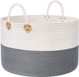 SONGMICS Panier à linge en corde de coton avec poignées - 100 L - Pour jouets, vêtements, couvertures, gris et beige - 55 ...