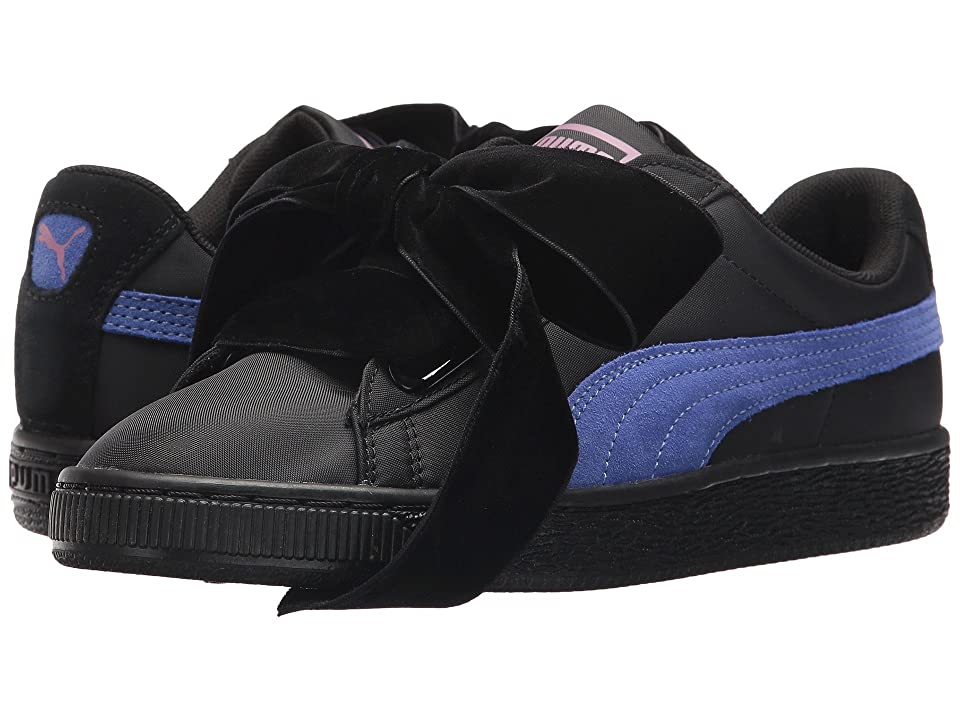 PUMA Basket Heart Nylon (Puma Black Baja Blue) Women s Shoes. On sale ... a058b8361