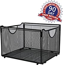 CLATINA Office Metal Mesh File Organizer with Handle Letter Storage Crate Folder Holder Box for Home Desk Black