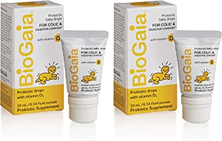 BioGaia Probiotics Drops with Vitamin D for Baby, Infants, Newborn and Kids Colic, Spit-Up, Constipation and Digestive Comfort, 1 Pediatrician Recommended Probiotic for Colic, 10 ML, 0.34 oz, 2 Pack