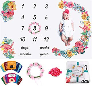 Baby Monthly Milestone Blanket Girl Floral – Soft Fluffy Design – 60 x 40 in – 1 to 12 with Days, Weeks, Months and Years–...