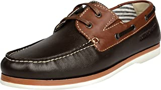 Buttons & Laces Men's Genuine Leather Casual Boat Shoes, Brown