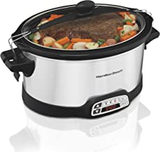 Hamilton Beach Stay or Go Portable 6-Quart Slow Cooker With Lid Lock, Timer, Dishwasher-Safe Crock, Silver (33661)