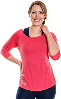 NEVA Wear Ethical Women's Activewear Super Soft Scoop Neck Loose Fitting 3/4 Sleeve T-Shirts