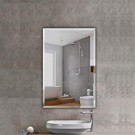Amazon Com Beauty4u Rectangular Frameless Wall Mirrors 24 X 36 Frameless Beveled Hd Bathroom Mirror Vanity Make Up For Wall Decor Home Kitchen