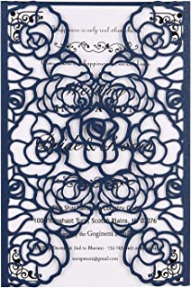 FOMTOR Laser Cut Invitations 40 Pack Navy Blue Laser Cut Invitation Card Kit with Blank Printable Paper and Envelopes for Wedding,Birthday Parties,Baby Shower,Graduation