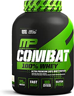 MusclePharm Combat 100% Whey, Muscle-Building Whey Protein Powder, 25 g of Ultra-Premium, Gluten-Free, Low-Fat Blend of Fast-Digesting Whey Protein, Cookies 'N' Cream, 5-Pound,70  Servings