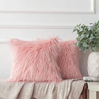 Ashler Pack of 2 Decorative Luxury Style Pink Faux Fur Throw Pillow Case Cushion Cover 18 x 18...