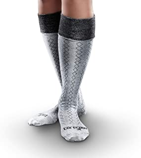 Core-Spun Patterned AFO Interface Socks for Adults – Classic Diamond, Grey & Black, Adult Small