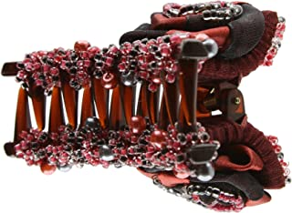 Caravan Hair Claw Decorated In Two (2) Tone Wrapped Rose And Multiple Beads In Red And Black