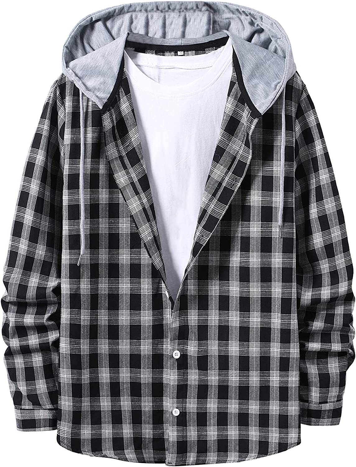Mens Teen Boys Flannel Button Down Shirts Plaid Loose Fit Long Sleeve Lightweight Sweatshirts Flannel Jackets