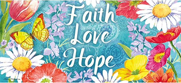 Evergreen Faith Love Hope Sassafrass Decorative Mat Insert 10 X 22 Inches