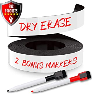 Dry Erase Magnetic Strips 1 Inch x 25 Feet with Markers, Reusable Magnet Write On Strips and Labels for Home and Office, White Writeable Sheets for Whiteboards, Refrigerator and Crafts