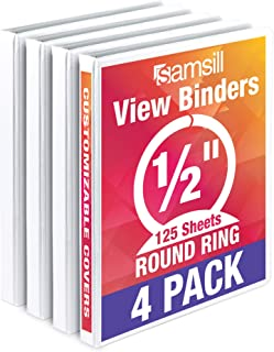 Samsill Economy 3 Ring View Binder, .5 Inch Round Ring – Holds 125 Sheets, PVC-Free / Non-Stick Customizable  Cover, White, 4 Pack