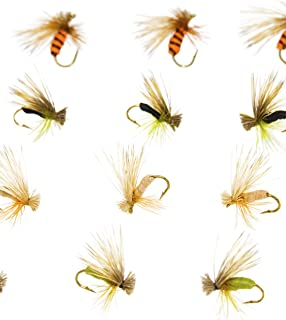 Outdoor Planet 12 Guide's Choice Hare's Ear/BH Soft Hackle Pheasant Tail/Tilt Wing Dun/Kingrey's Better Foam Caddis/Nymph Flies/Dry Flies for Trout Fly Fishing Flies Lure Assortment
