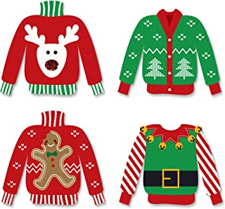 Big Dot of Happiness Ugly Sweater - DIY Shaped Holiday and Christmas Cut-Outs - 24 Count
