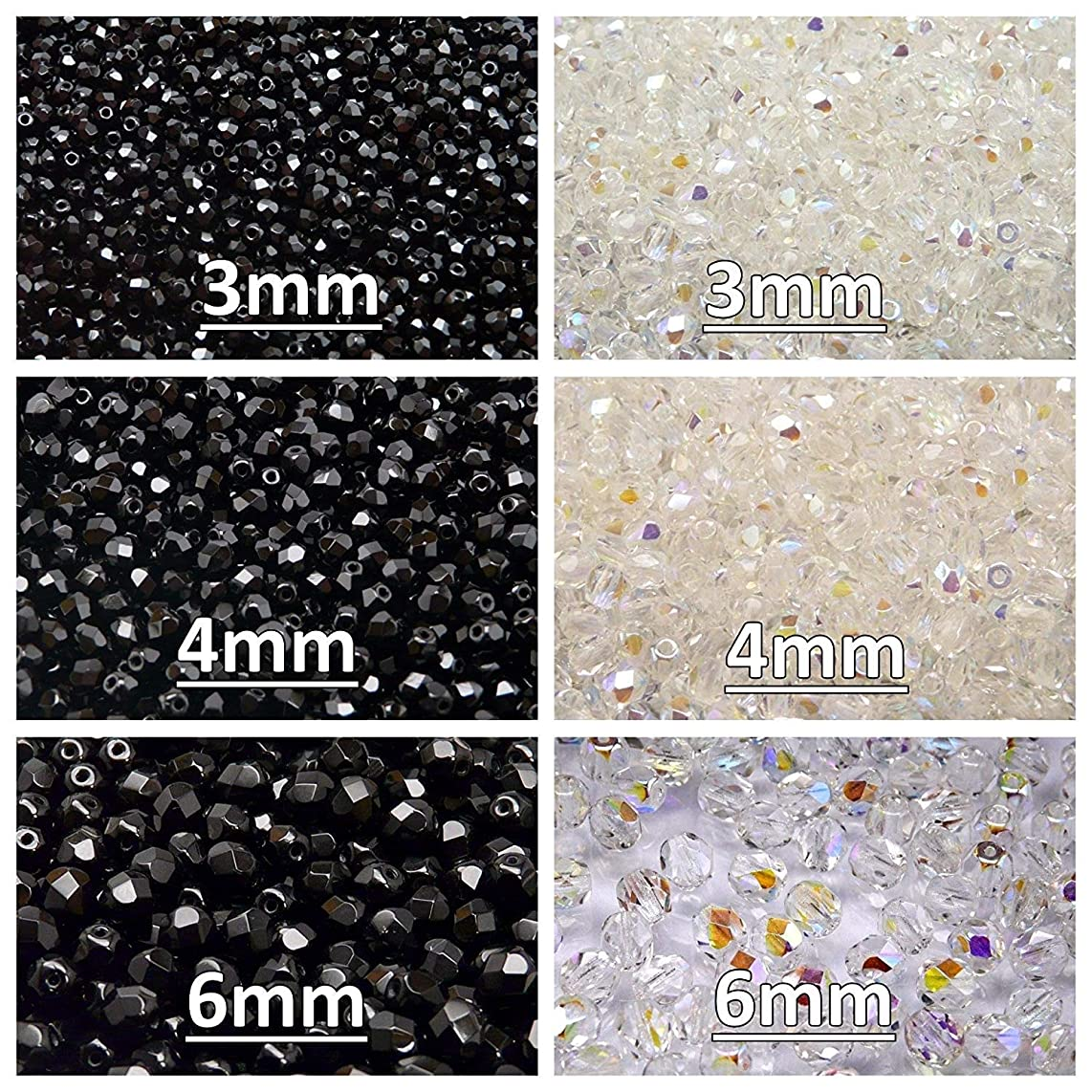 Czech Fire-Polished Glass Beads Round 3mm, 4mm, 6mm, Two Colors. Total 500 pcs. Set 2CFP 004 (3FP001 3FP002 4FP001 4FP002 6FP001 6FP002)