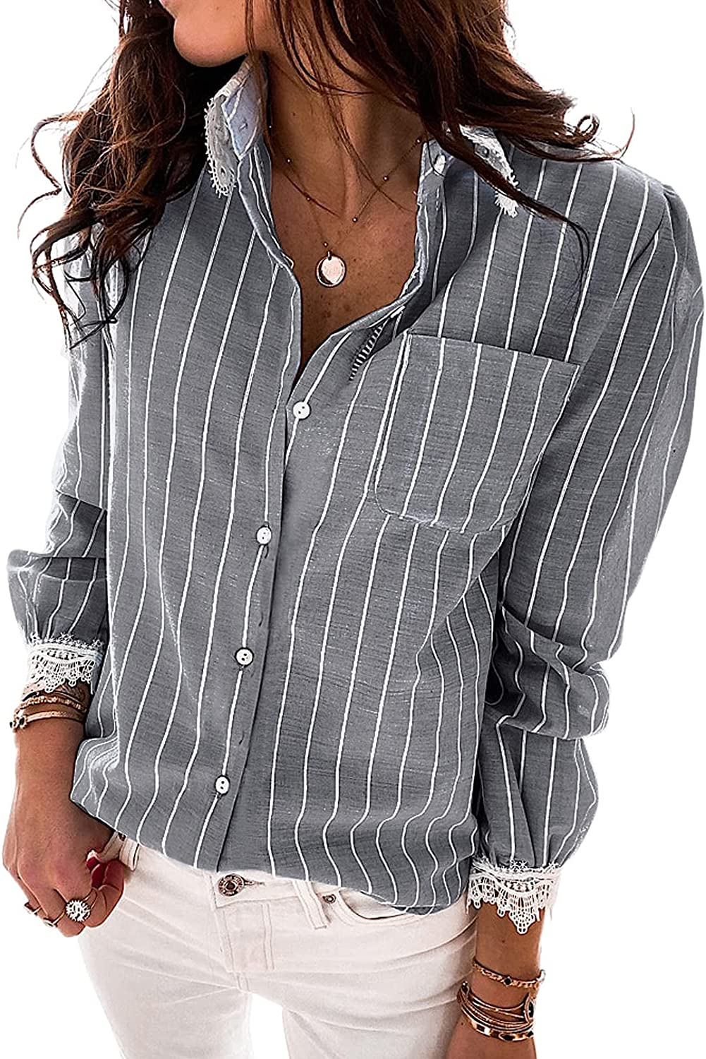 Ecrocoo Women's Casual Long Sleeve V Neck Blouses Stripe Print Summer Button Shirts Loose Tunic Tops with Pocket
