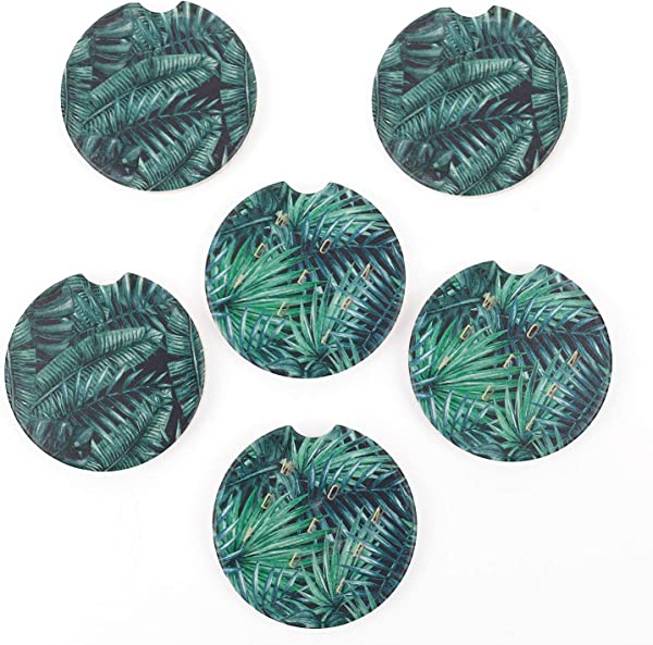 Pack Of 6 Monstera Leaves And Palm Leaves Ceramic Car Absorbent Coasters Auto Cup Holder Coasters Car Accessories To Keep Your Car Cup Holders Clean And Dry 2 56 Fit Most Cars