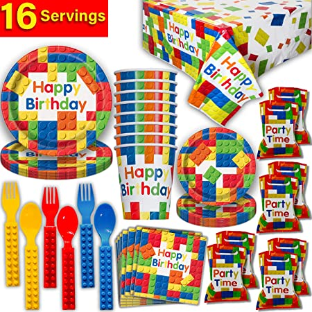 Lego Building Blocks Party Decorations Bundle Party Tableware Set Pack