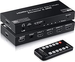 4K@60Hz HDMI Switch 4x1 with 7.1 Audio Extractor, avedio links 4 Port HDMI2.0b Switch Box with HDMI Atmos 7.1CH/ Optical ...