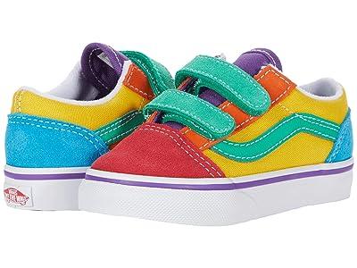 Vans Kids Old Skool V (Infant/Toddler) ((Rainbow Color-Block) Multi/True White) Kids Shoes