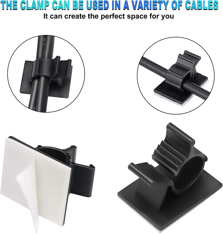 Organizador de Cables con Tornillos y Adhesivo Abrazadera de Cables USB TV Audio para Hogar Oficina Equipado con raspador y pa/ño de limpieza Coche y Taller 70 Clips Grapas de Pared para Cable