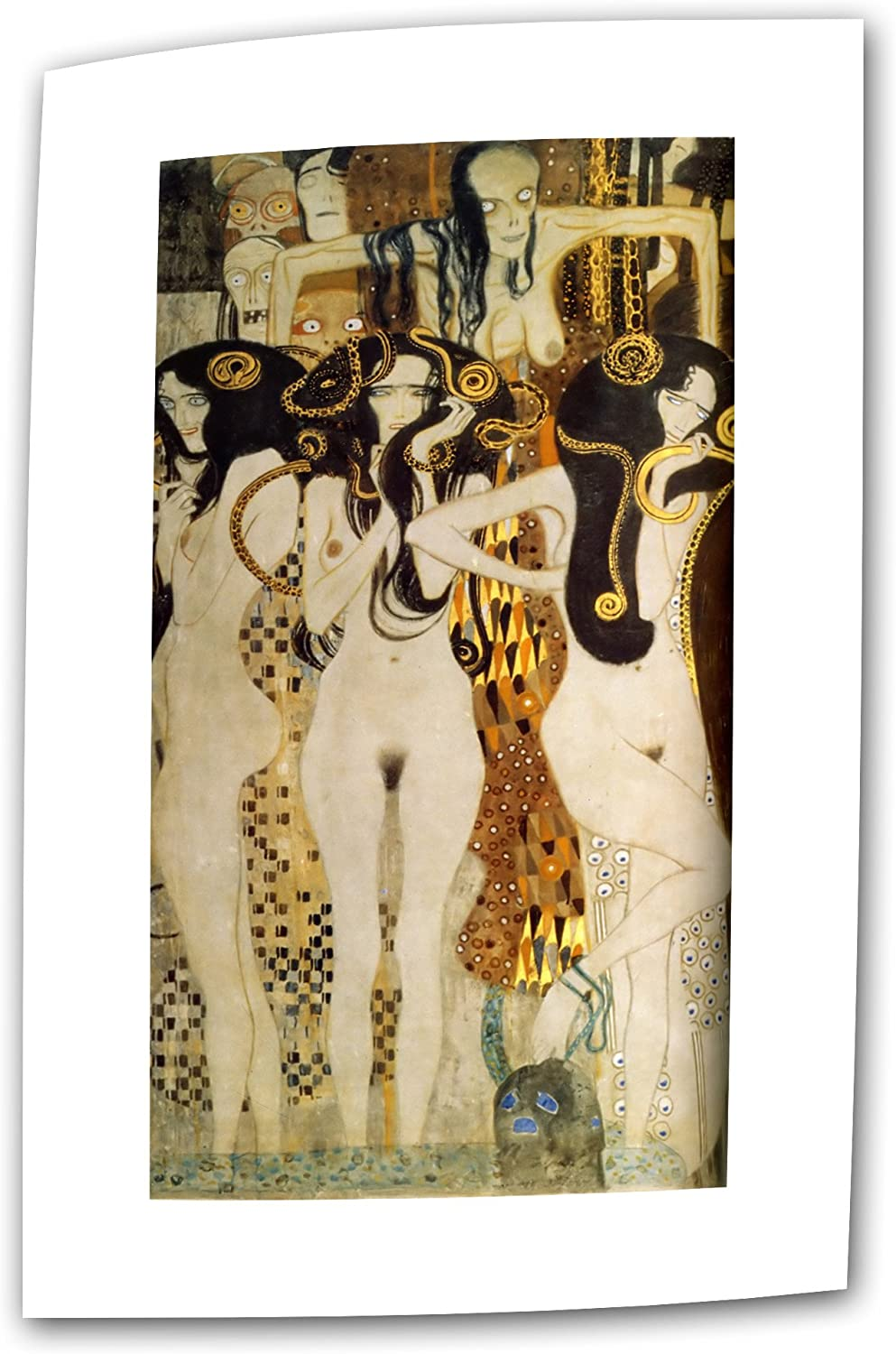 Amazon Com Art Wall Beethoven Frieze Detail 24 By 48 Inch Flat Rolled Canvas By Gustav Klimt With 2 Inch Accent Border Unframed Prints Paintings