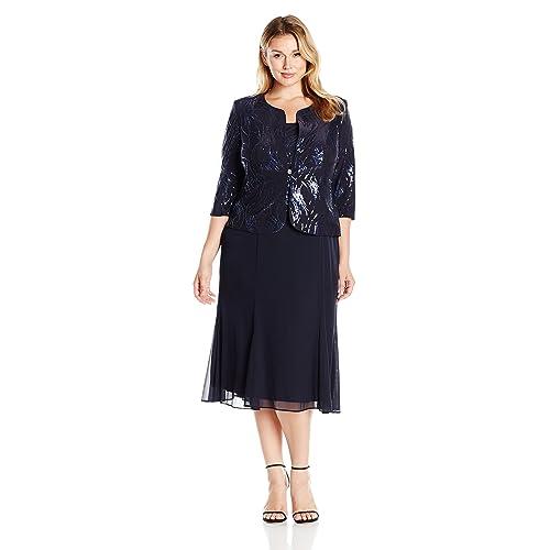 d383f4b7306fb Alex Evenings Women's Plus-Size Tea Length Mock Jacket Dress