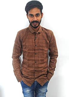 Mens Brown Check Shirt